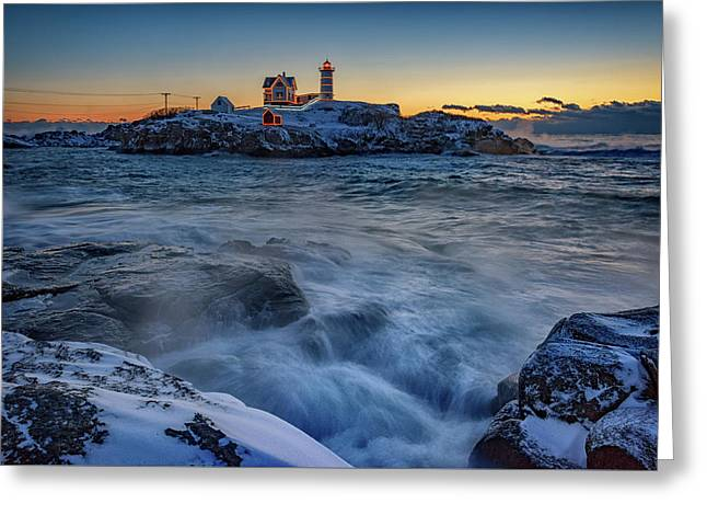 Cape Neddick In The Cold Greeting Card by Rick Berk