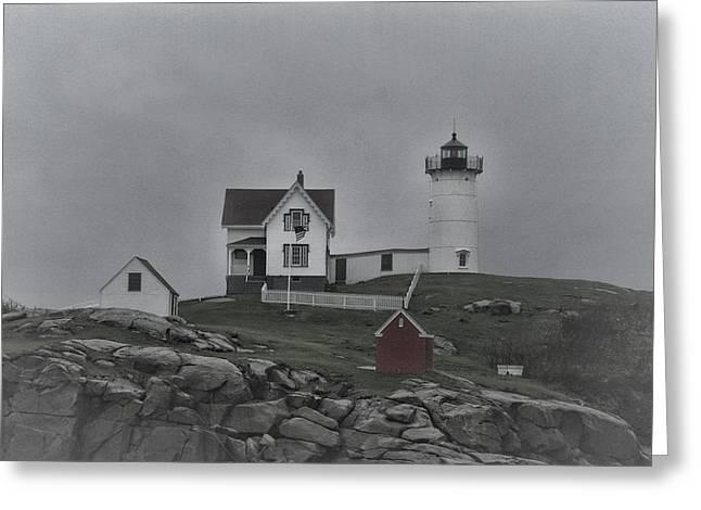 Maine Beach Greeting Cards - Cape Neddick Lighthouse - 2 - Maine Greeting Card by Cheryl Barnett