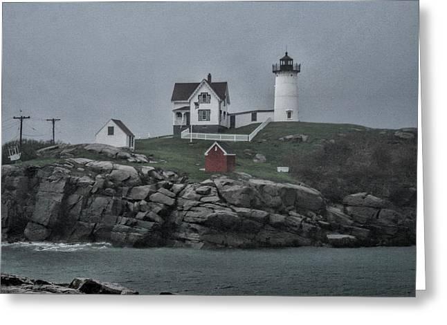 Maine Beach Greeting Cards - Cape Neddick Lighthouse - 3 - Maine Greeting Card by Cheryl Barnett