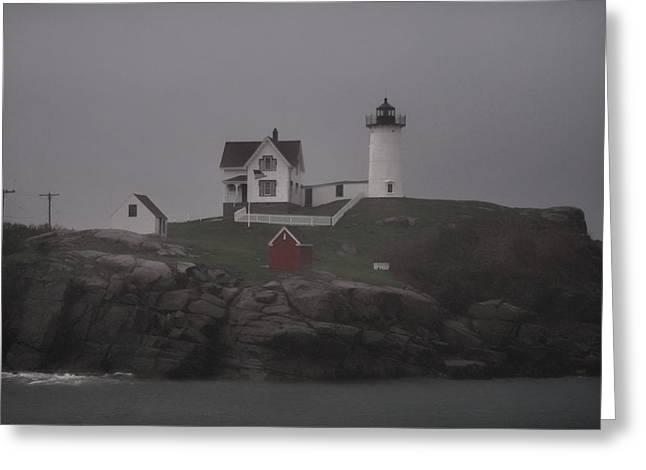Maine Beach Greeting Cards - Cape Neddick Lighthouse - 4 - Maine Greeting Card by Cheryl Barnett