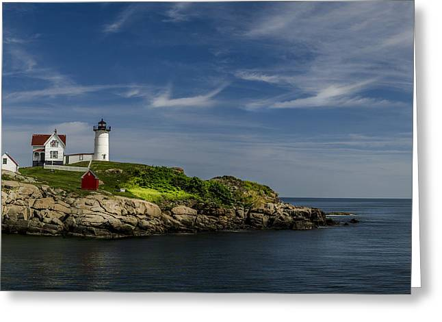 Maine Lighthouses Greeting Cards - Cape Neddick Lighthouse Greeting Card by Rick Mosher