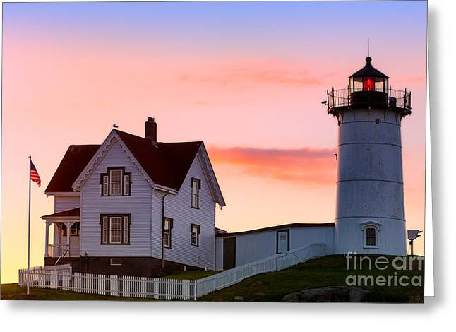 Cape Neddick Lighthouse Greeting Cards - Cape Neddick Lighthouse Sunrise Greeting Card by Jerry Fornarotto