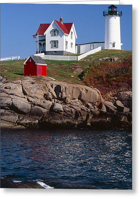 Cape Neddick Lighthouse Greeting Cards - Cape Neddick Lighthouse York Maine Greeting Card by George Oze