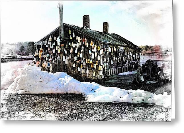 New England Village Greeting Cards - Cape Neddick Lobster Shack Greeting Card by Marcia Lee Jones