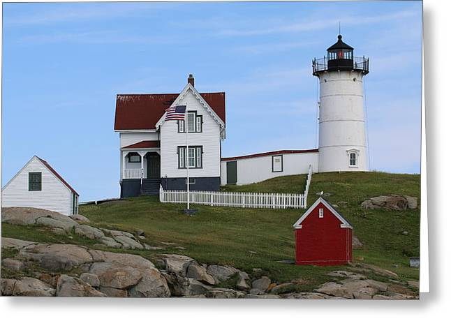 Cape Neddick Lighthouse Greeting Cards - Cape Neddick   Nubble   Lighthouse Greeting Card by Barretreasures Photography