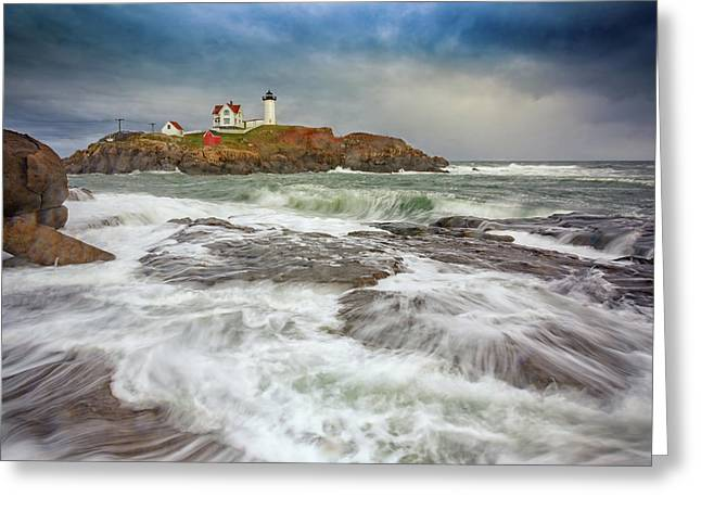 Cape Neddick Storm Greeting Card by Rick Berk
