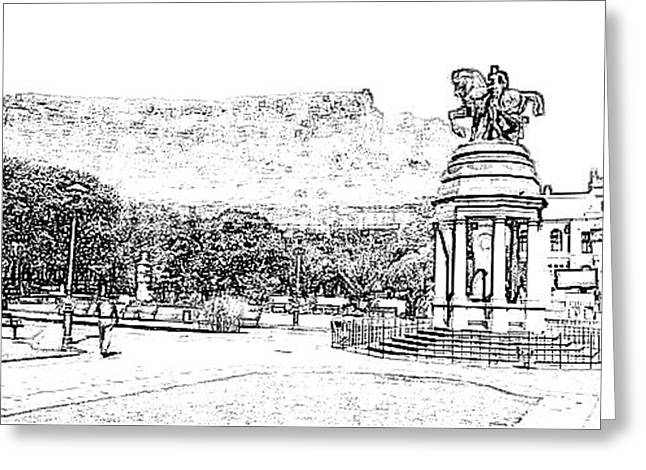 Cape Town Drawings Greeting Cards - Cape Town Company Gardens Greeting Card by Gerald Crawford