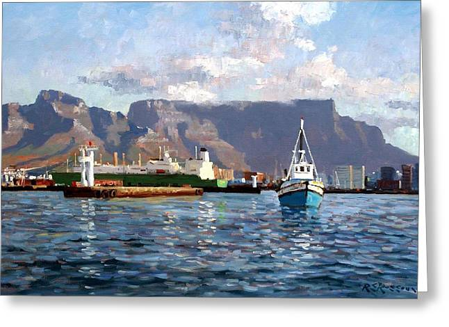Roelof Rossouw Greeting Cards - Cape Town Harbor Entrance Greeting Card by Roelof Rossouw