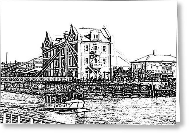 Cape Town Drawings Greeting Cards - Cape Town Waterfront 2 Greeting Card by Gerald Crawford