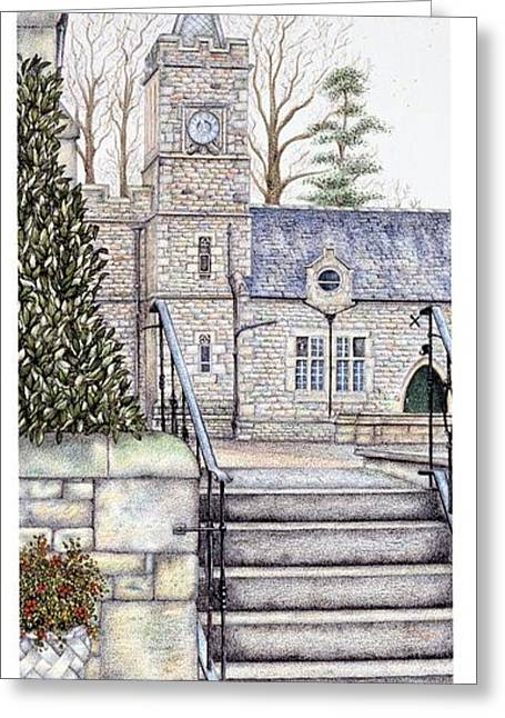 Stepping Stones Drawings Greeting Cards - Capernwray Hall Clock  Lancashire Greeting Card by Sandra Moore