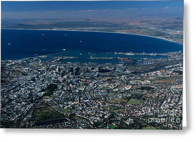 Cape Town Greeting Cards - Capetown South Africa Aerial Greeting Card by Sandra Bronstein