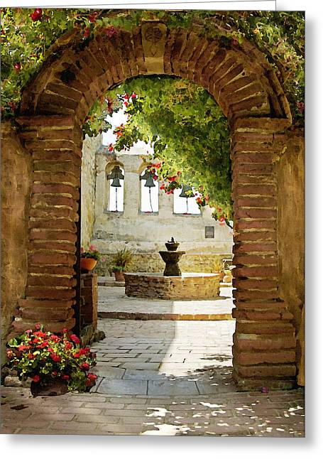 Bell Greeting Cards - Capistrano Gate Greeting Card by Sharon Foster