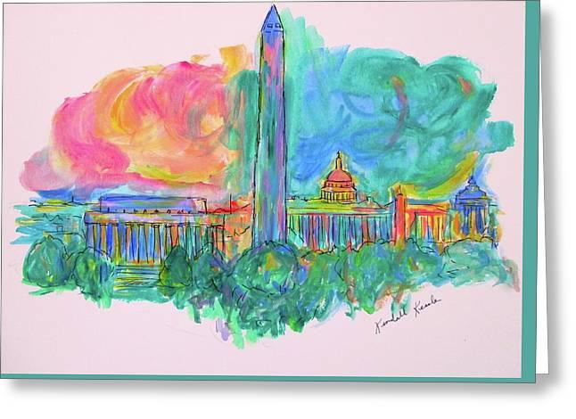 Capital Swirl Greeting Card by Kendall Kessler