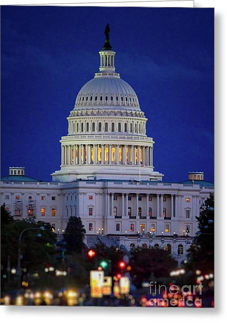 Us Capitol Greeting Cards - Capitol at Dusk Greeting Card by Doug Sturgess