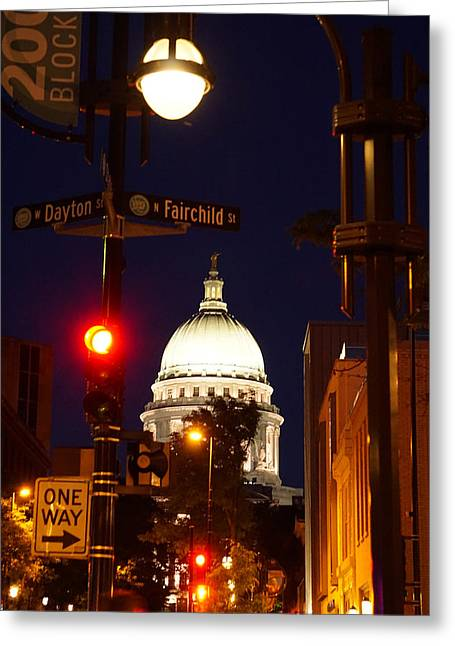 Streetlight Greeting Cards - Capitol at Night Greeting Card by Claude Anthony