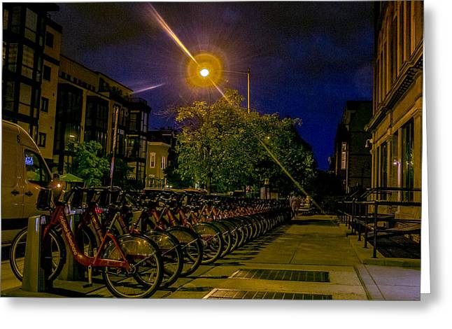 Night Lamp Greeting Cards - Capital Bikeshare Greeting Card by Sam Garvin