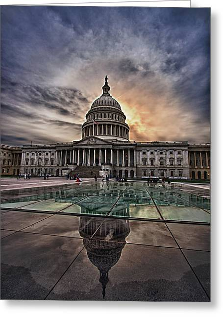 Capitol Building Against Setting Sun Greeting Card by Val Black Russian Tourchin