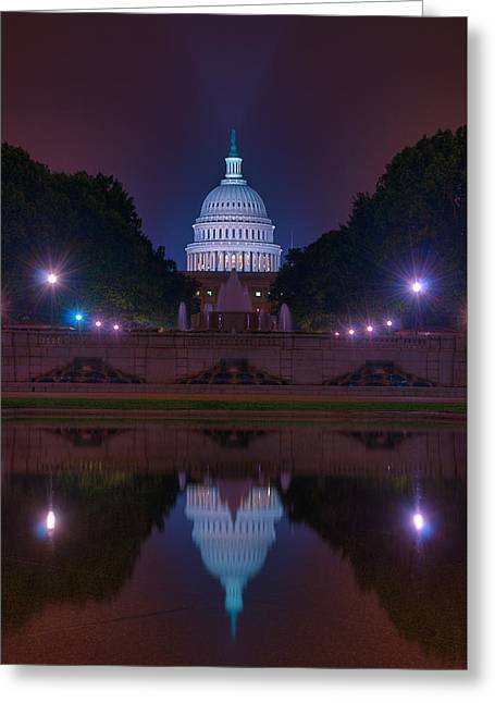 Twinkle Greeting Cards - Capitol Reflection Greeting Card by Steven Maxx