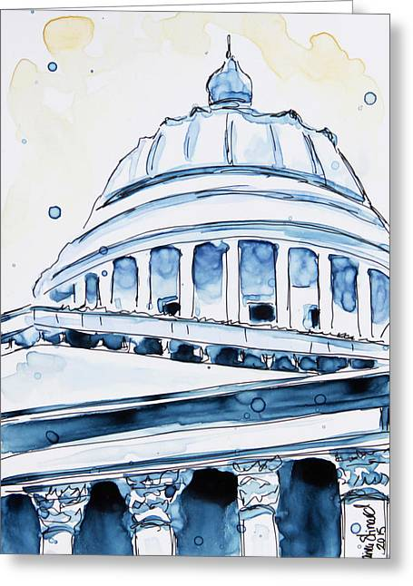Pen And Paper Greeting Cards - Capitol Greeting Card by Shaina Stinard