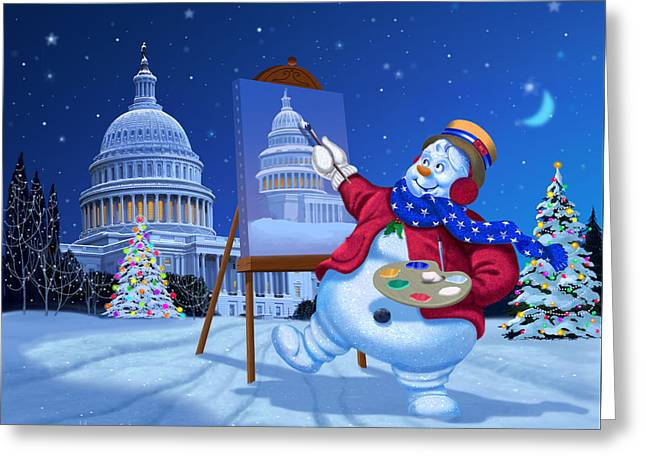 Capitol Snoman Greeting Card by Michael Humphries