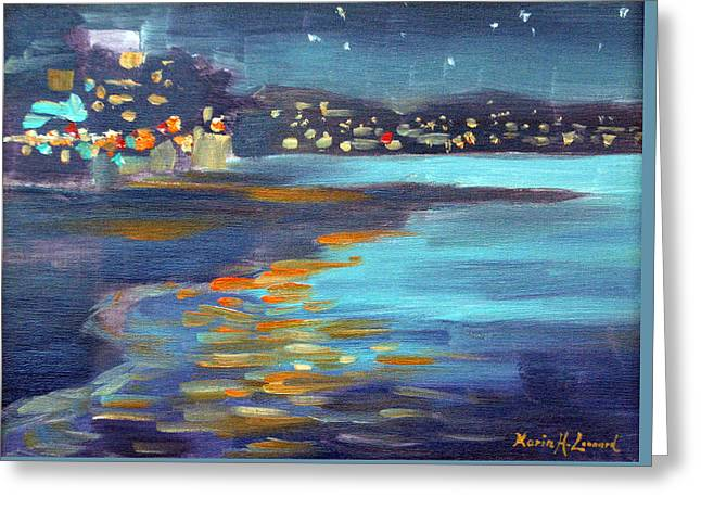 Capitola Nocturne Greeting Card by Karin  Leonard