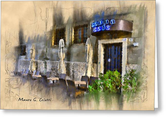 Abstract Digital Pyrography Greeting Cards - Cappa Cafe Greeting Card by Mauro Celotti