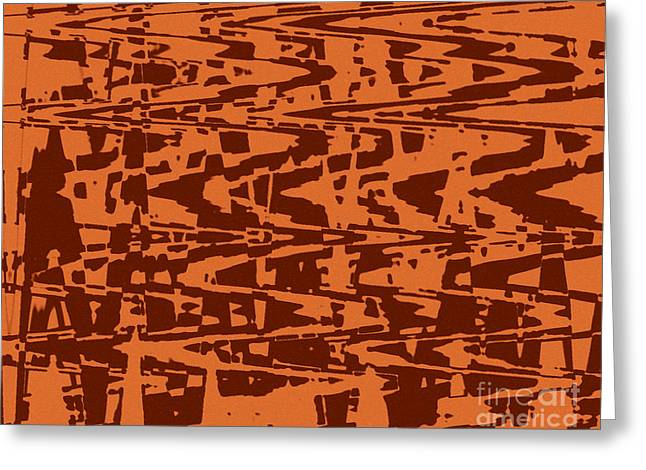 Abstract Digital Tapestries - Textiles Greeting Cards - Capri Burnt Orange Greeting Card by FabricWorks Studio