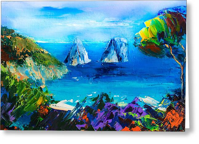 Beach Scenery Paintings Greeting Cards - Capri Colors Greeting Card by Elise Palmigiani