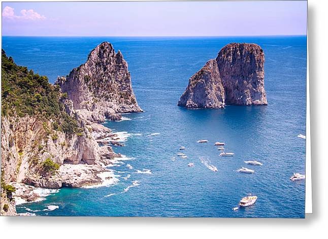 Ocean Photography Greeting Cards - Capri Faraglioni Greeting Card by Daphne Sampson