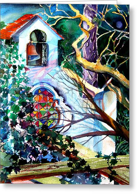 Grape Vines Drawings Greeting Cards - Capri Italy Chapel Greeting Card by Mindy Newman