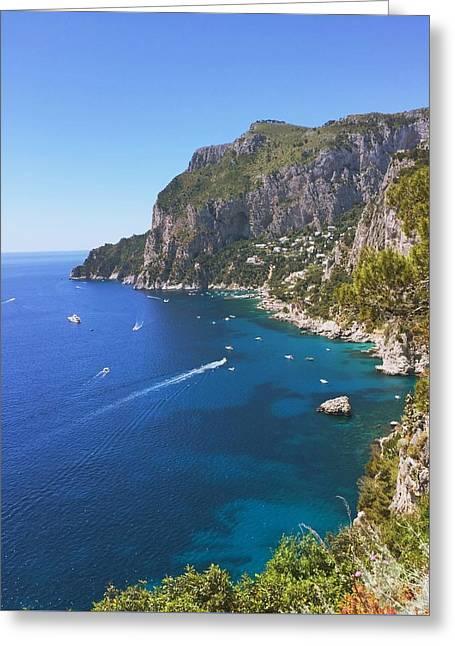 Amalfi Sunset Greeting Cards - Capri Landscape Greeting Card by Ariane Moshayedi