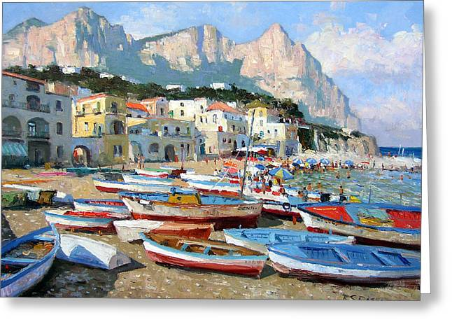 Isle Greeting Cards - Capri Sunshine Greeting Card by Roelof Rossouw