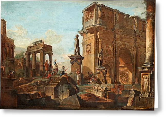 Capriccio With Figures At The Roman Ruins And The Arch Of Constantine Greeting Card by Giovanni Paolo Panini