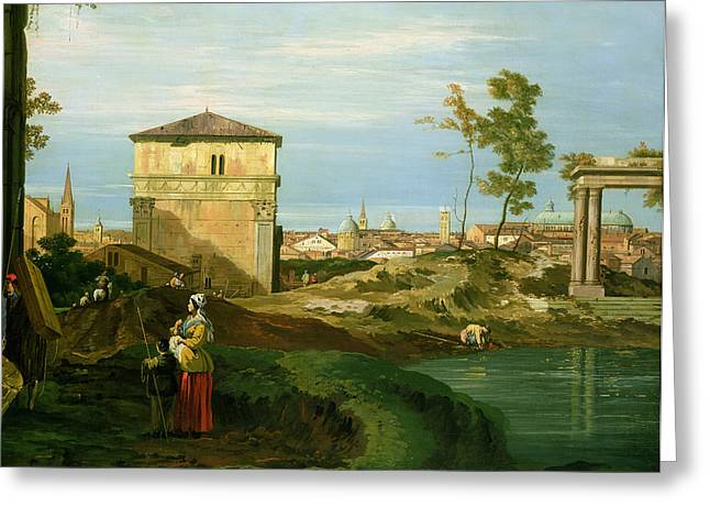 Italian Landscapes Greeting Cards - Capriccio with Motifs from Padua Greeting Card by Canaletto