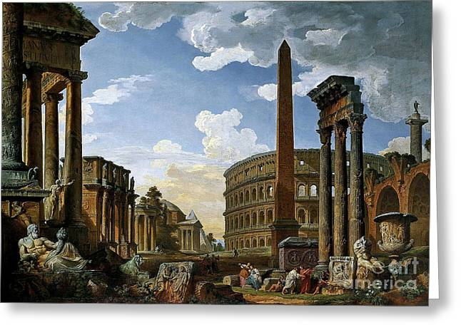 Capriccio With The Most Importnt Monuments Of Ancient Rome Greeting Card by MotionAge Designs