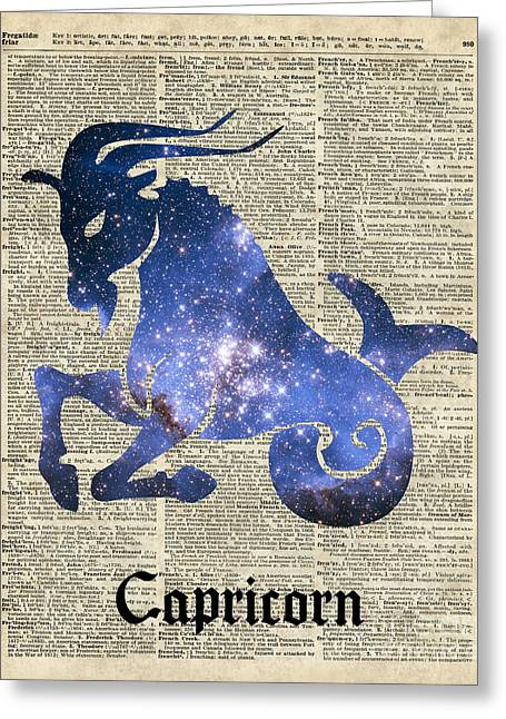 Constellations Mixed Media Greeting Cards - Capricorn Goat horned - Zodiac Sign Greeting Card by Jacob Kuch