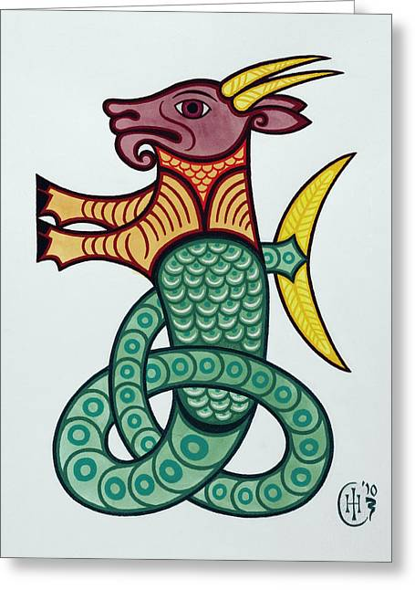Celtic Knotwork Greeting Cards - Capricorn Greeting Card by Ian Herriott