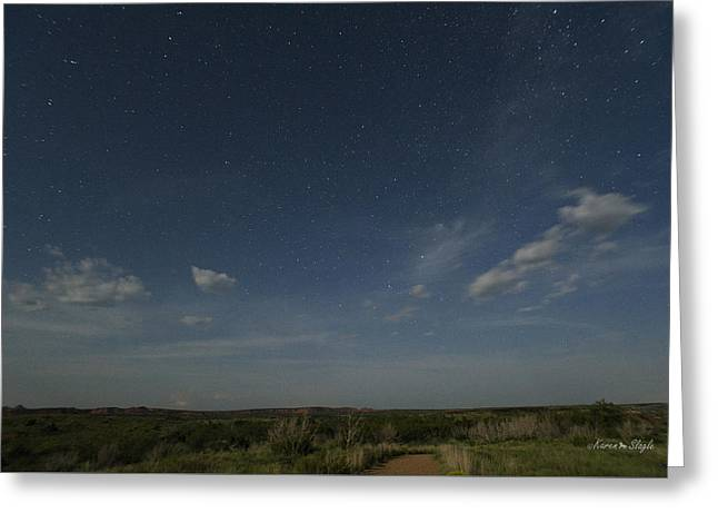 Night Scenes Greeting Cards - Caprock Canyons at Night Greeting Card by Karen Slagle