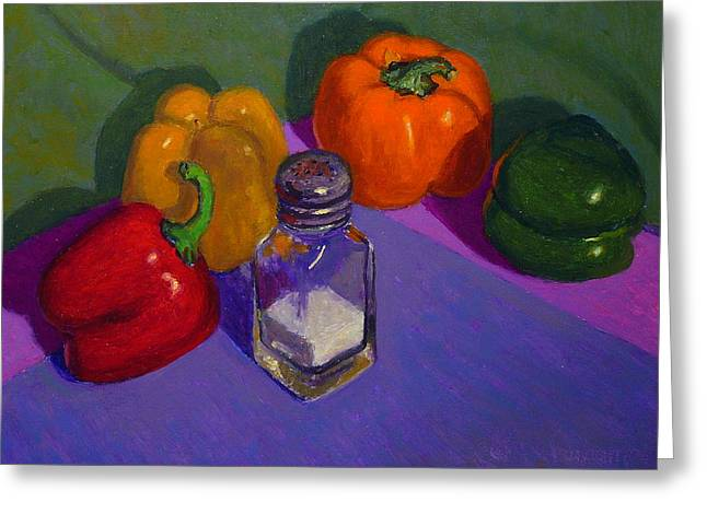 Terry Perham Paintings Greeting Cards - Capsicums And Salt Greeting Card by Terry Perham