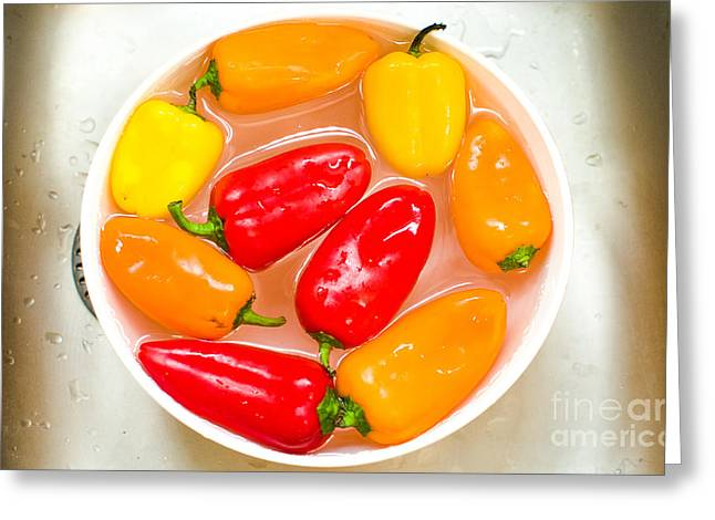 Capsicums Canvas Bell Peppers Prints Washing Vegetables Greeting Card by Luca Lorenzelli