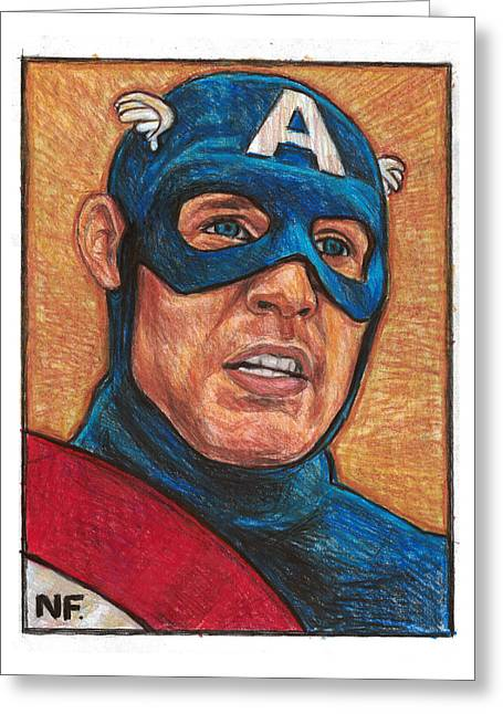 Captain America As Portrayed By Actor Chris Evans Greeting Card by Neil Feigeles