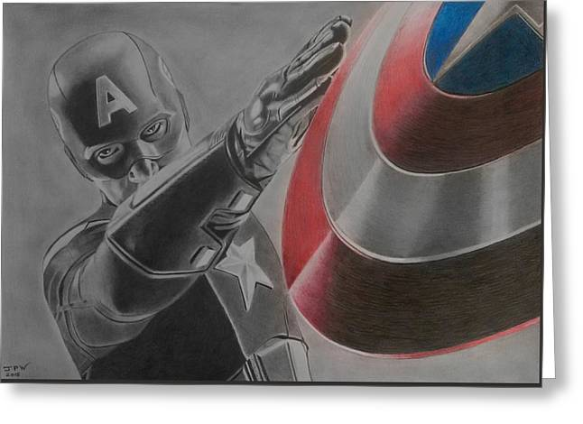 Chris Evan Greeting Cards - Captain America Greeting Card by John Wood