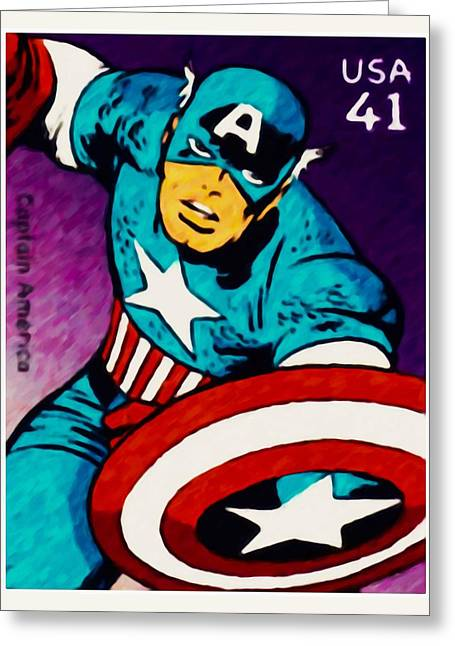 Captain America Paintings Greeting Cards - Captain America Greeting Card by Lanjee Chee