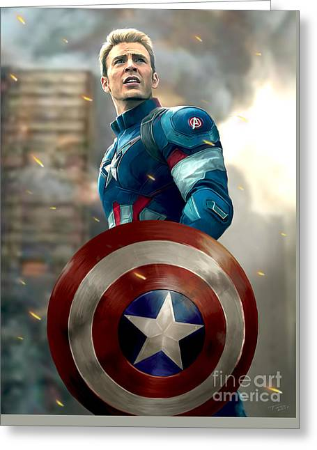 Thor Greeting Cards - Captain America - No Helmet Greeting Card by Paul Tagliamonte