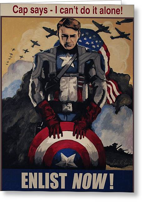 Chris Evan Greeting Cards - Captain America Recruiting Poster Greeting Card by Dale Loos Jr