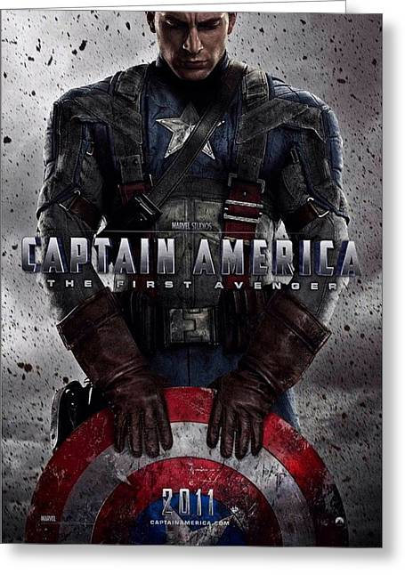 Motion Picture Poster Greeting Cards - Captain America The First Avenger  Greeting Card by Movie Poster Prints