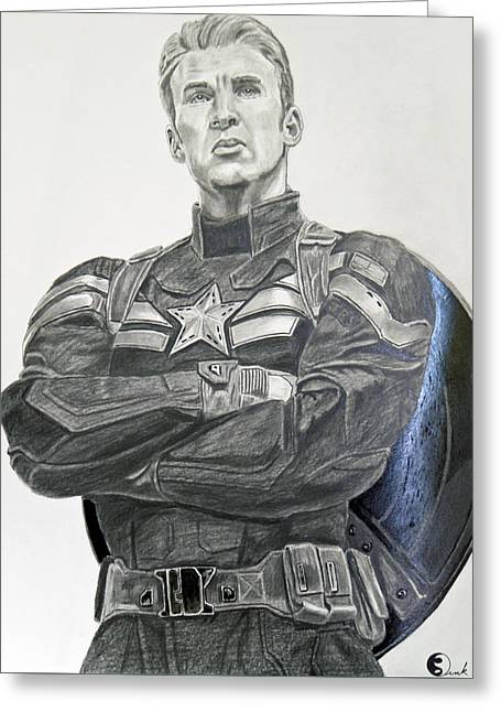 Chris Evan Greeting Cards - Captain America the Winter soldier Greeting Card by Robert Link