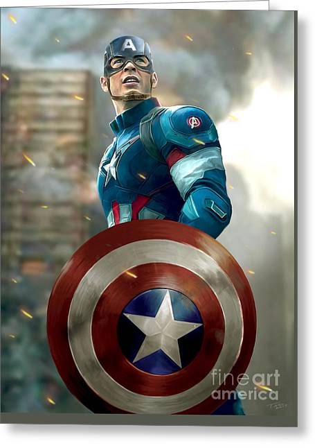 Captain America With Helmet Greeting Card by Paul Tagliamonte