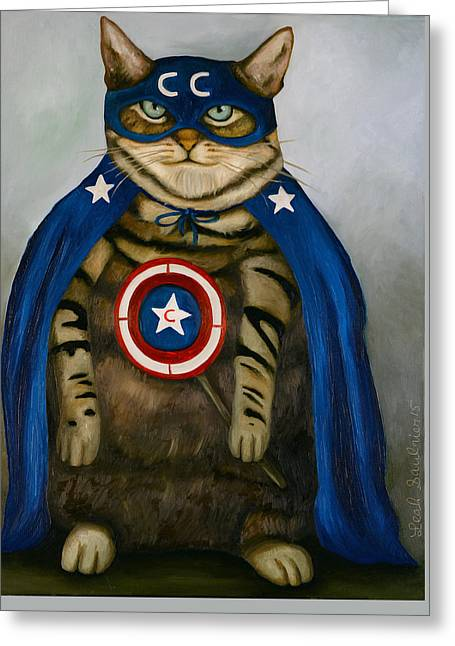 Independence Day Paintings Greeting Cards - Captain Cat Super Hero Greeting Card by Leah Saulnier The Painting Maniac