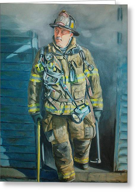 Firefighter Greeting Cards - Captain Harris Greeting Card by Paul Walsh